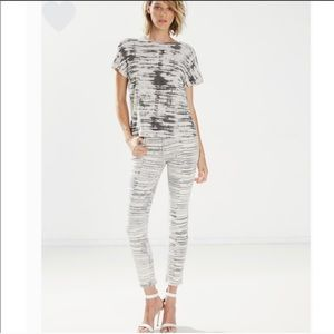 Mother Looker Ankle Fray Skinny Jeans Stripe Print